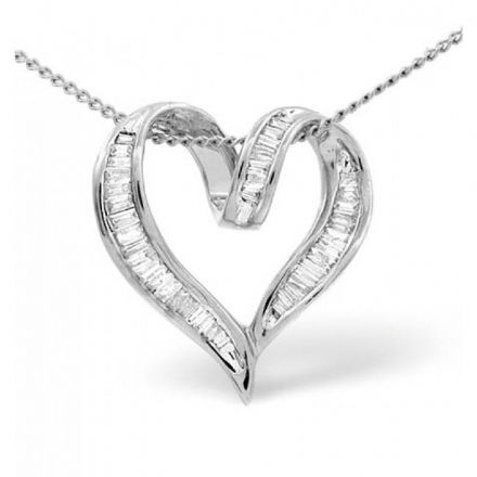 18K White Gold 0.33ct Diamond Pendant, P2397